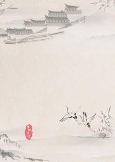 中国风 清新 水墨 海报 背景 绿叶 春