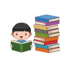 小男孩看书矢量素材