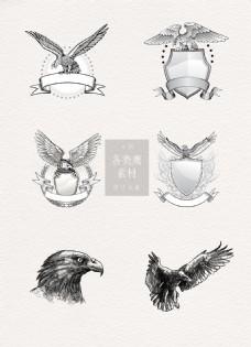 老鹰黑白手绘ai矢量元素素材