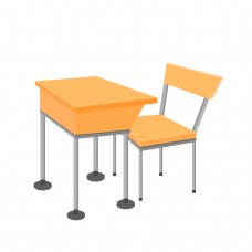 手绘矢量教室课桌椅子学生