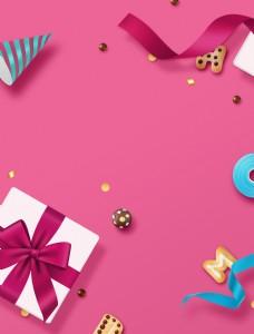 扁平卡通粉色浪漫生日背景