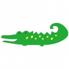 卡通矢量儿童画鳄鱼免抠