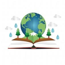 卡通地球和书籍矢量素材
