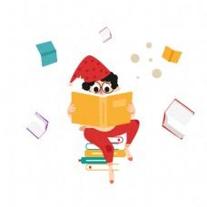 戴帽子的可爱男孩看书矢量素材