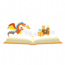 卡通书籍里的城堡和怪兽矢量素材