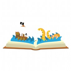 卡通书中海洋世界矢量素材