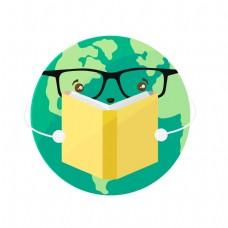 戴眼镜的地球看书矢量素材