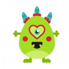 绿色卡通心形独眼外星人矢量素材