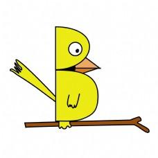 卡通矢量儿童画小鸟