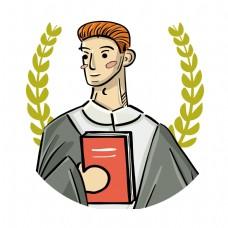 卡通男人抱着书本矢量素材