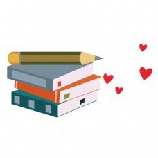 卡通爱心书籍和铅笔矢量素材