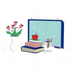 卡通教师办公桌矢量素材