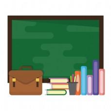 卡通教室里的黑板和书矢量素材