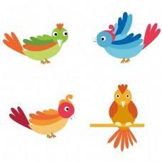 卡通矢量彩色小鸟