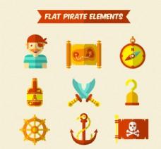 9款扁平化海盗元素矢量图标