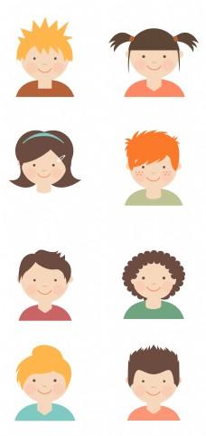 卡通矢量儿童头像