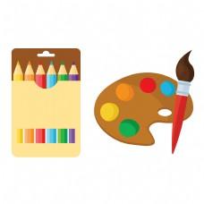 卡通矢量儿童绘画用具彩色铅笔调色盘