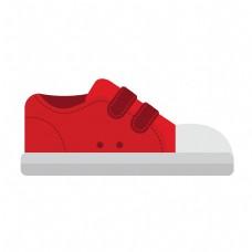 卡通矢量儿童红色休闲布鞋