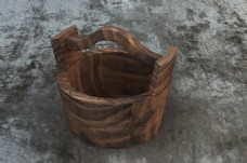 中式复古水桶3d模型