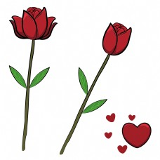 手绘卡通浪漫玫瑰花下载