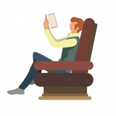卡通看书的男人矢量素材