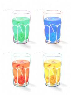 手绘饮料果汁装饰素材