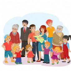 卡通一家人大家庭