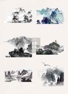 水墨山水古风中国风素材