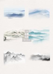 水墨山水中国风装饰设计元素