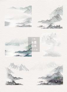 水墨山水中国风装饰图案设计