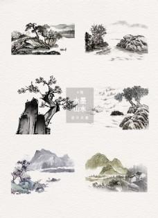 水墨山水中国风装饰素材