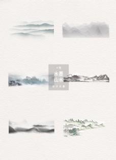 水墨山水中国风设计元素