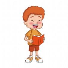 开心看书的男孩矢量素材