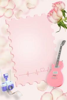 粉色信纸花朵背景图