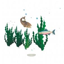卡通水里的鱼矢量素材