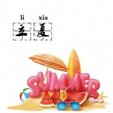 清新手绘粉色西瓜立夏节气元素