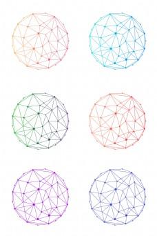 多色全色系渐变风科技感网络线条多边形球体