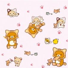 轻松熊小猫咪小鸡老鼠矢量图