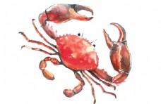手绘中国风螃蟹元素