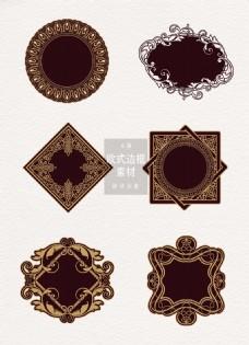 欧式边框黑色素材花纹复古ai矢量元素