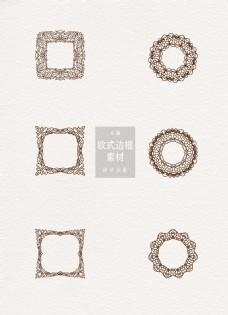 欧式边框素材褐色圆形方形ai矢量元素