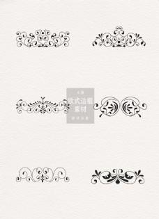 黑色花纹ai矢量元素欧式边框素材