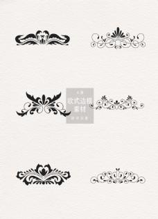 黑色花纹美丽欧式边框素材ai矢量元素