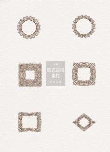 欧式边框素材灰色黑色圆形方形ai矢量元素