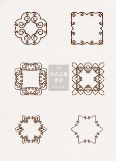 欧式边框素材花纹方形圆形ai矢量元素