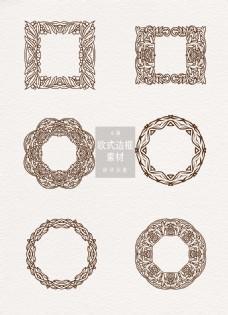 欧式边框素材褐色纹理花纹ai矢量元素