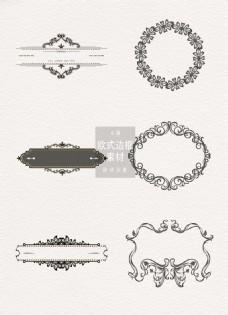 欧式边框素材黑色纹理ai矢量元素