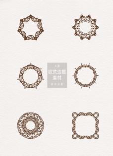 欧式边框素材花纹圆形ai矢量元素