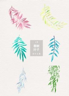清新柳树叶子装饰图案设计