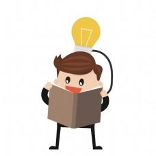 智慧男人看书矢量素材